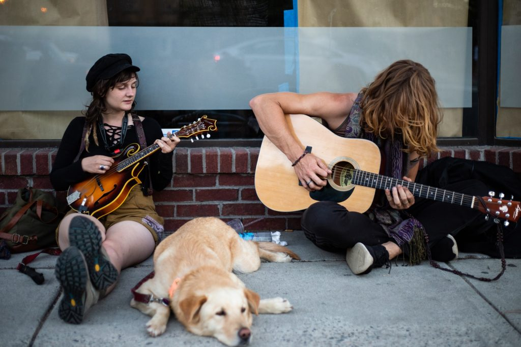Musicians with their dog